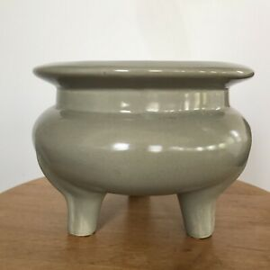 Antique Chinese Celadon Porcelain Longquan Censer With Mark Seal Not Bronze