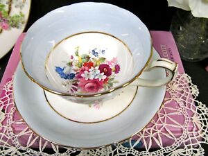 Hammersley Tea Cup And Saucer Painted Signed Howard Pattern Floral Teacup Blue