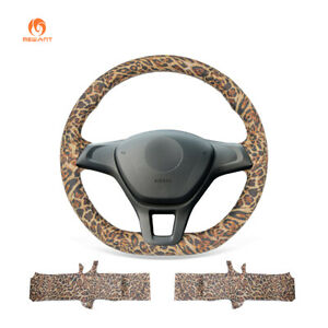 Leopard Artificial Leather Car Steering Wheel Cover For Vw Golf 7 Polo 2014 2017