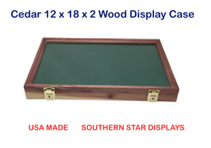 Cedar Wood Display Case 12 X 18 X 2 For Arrowheads Knifes Collectibles More