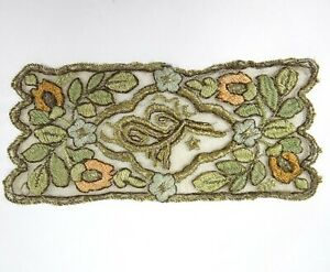 Antique Embroidered Appliqu With Metallic Thread