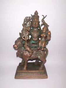 Antique Looking Of God Shiva And Parvati On Nandi Traditional Indian Copper Rare