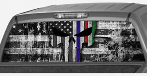 American Flag Skull Red Blue Green Line Rear Window Graphic Decal Pickup Truck