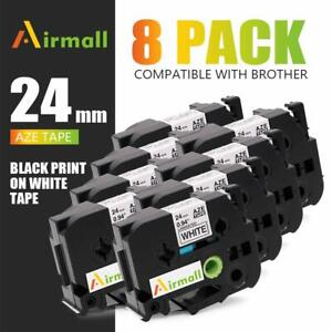 8 Pk Fit Brother P touch Tz 251 Tze251 Tz Tape Black On White Label Maker 24mm