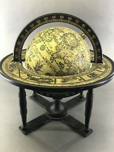 Vintage Wood Table Top Zodiac Astrology Old World Globe W Stand Made In Italy