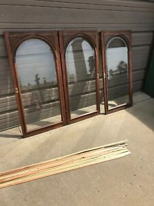An Set Of Three Antique Arch Top Beveled Glass Cabinet Doors 22x45 X3 4