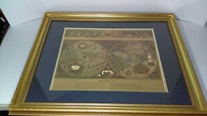 Vintage Gold Foiled Blaeu Wall Map Of The New World Matted Framed Under Glass