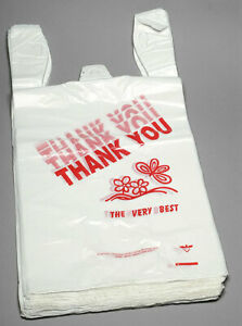 Thank You T shirt Bags 11 5 X 6 25 X 21 White Plastic Shopping Bag 100 1000