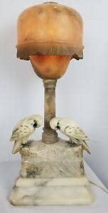 Antique Italian Carved Alabaster Marble Lamp With Parrots