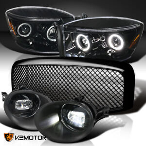 2006 2008 Ram Jet Black Projector Headlights Clear Led Fog Lamps Mesh Grille