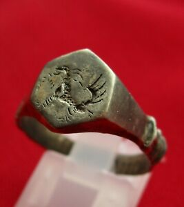 Dragon Ancient Viking Silver Ring Dragon Motive Engraved Drago