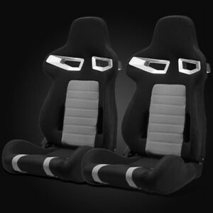 Universal Black grey Pineapple Fabric Left right Racing Bucket Seats Slider