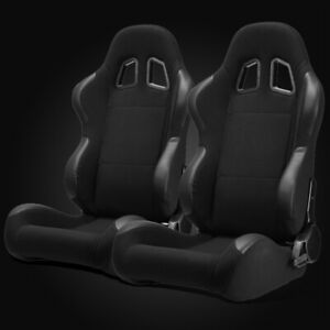Universal Jdm Black Pineapple Fabric pvc Leather Left right Racing Bucket Seats