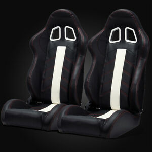 Universal Black Pvc Leather white Strip red Stitching Left right Racing Seats