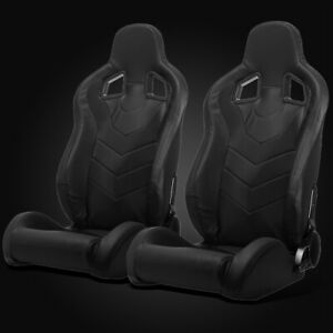 Universal Black Pvc Leather Left right Reclinable Racing Bucket Seats Slider