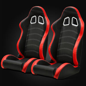 Universal Black Red Pvc Leather White Stitching Left Right Racing Seats Slider