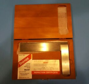 Starrett Beveled Edge Square 55 In Wood Case With 6 Long Blade Beautiful