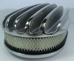 12 Oval Deep Finned Air Cleaner Polished Aluminum Classic Nostalgia