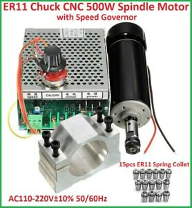 Cnc Air Cooling 500w Spindle Motor speed Governor 15 Er11 Spring 52mm Clamps