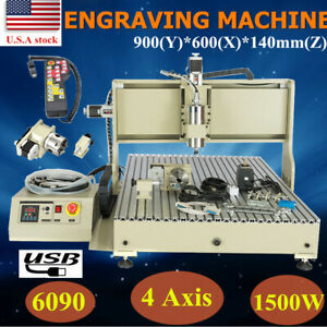 Usb 6090 4axis Cnc Router Engraver 1 5kw Vfd 3d Milling Ball Screw Handwheel
