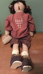 Adorable Large Raggedy Ann Like Primitive Country Cloth Doll 30 Long