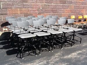 Lot Of 20 Matching Vintage Toledo Drafting Stools Adjust 16 To 21 Nice
