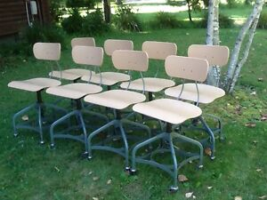Lot Of 8 Vtg Matching Toledo Drafting Stools On Wheels Adjust 16 To 21 Nice