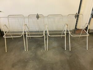 Set Of 4 Vintage Mid Century Wire Metal Patio Chairs
