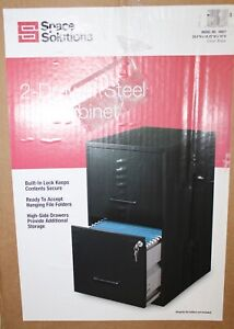 Space Solutions Filing cabinet 2 drawer steel file cabinet with lock Blk 16837