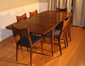 Broyhill Saga Mid Century Drop Leaf Dining Table Set With 6 Chairs