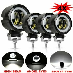 4x 3inch 80w Led White Angel Eye Round Work Light Bar Offroad Truck Motorcycle