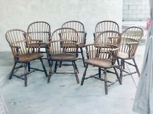 8p Vintage Wells Fargo Wood Curved Back Dining Side Chairs Armchairs