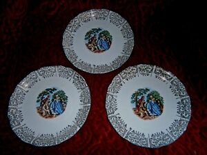 Set Of 3 Victorian Antique Courting Scene Plates Gold Scalloped Trim 6 Round