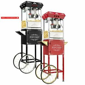 Olde Midway Vintage Style Popcorn Machine Maker Popper With Cart And 8 ounce Ket