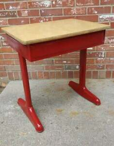 Vintage Child S School Desk Laminate Top Repainted Colonial Red