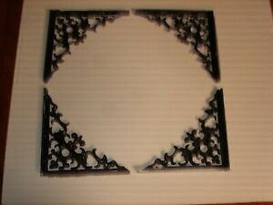 Set Of 4 Wrought Iron Shelf Brackets Or Outdoor Corners Ornate And Heavy