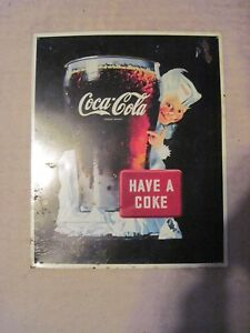 1995 Coca-Cola Metal Sign with Sprite Boy in Design  Used with Flaws Cond.