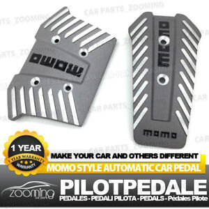 2 Pcs At Universal Racing Non slip Silver Metal Automatic Car Pedals Pad Lw02