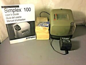 Vintage Simplex 100 Time Card Machine Punch Clock With Cards And Manual