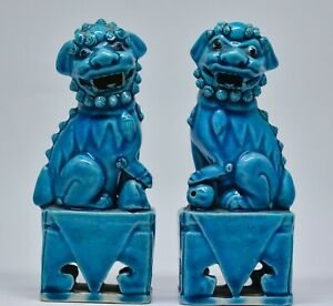 Antique Chinese Turquoise Blue Pair Foo Dogs 5 Inches Tall Marked China