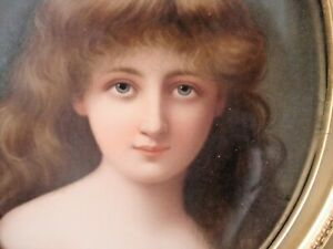 Antique Kpm Berlin Portrait Porcelain Plaque Painting