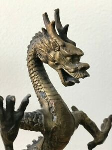 Brass Chinese Dragon Figurine 9 3 4 Tall