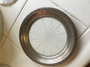 Sterling Silver Starburst Champagne Wine Bottle Coaster 5 1 2