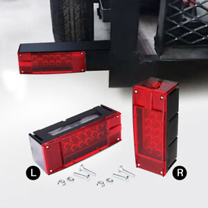 2x Waterproof Red Led Brake Turn Signal Tail Light For Trailer Submersible Boat