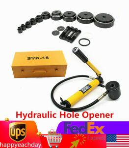 15 Ton Hydraulic Knockout Punch Driver Kit 10 Dies Conduit Hole Tool Durable