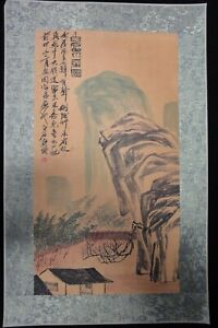 Rare Very Old Large Chinese Paper Painting Mountanis Qibaishi Marks