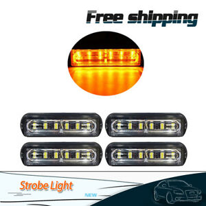 4 Amber 6 Led Car Truck Trailer Emergency Light Bar Hazard Strobe Warning Light