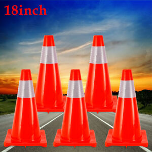 5x 18 Traffic Cones Fluorescent Reflective Road Highway Safety Parking Cone Pvc