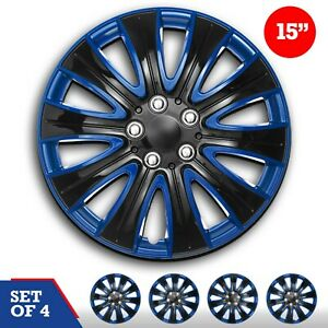 Set 4 Hubcaps 15 Wheel Cover Marina Black Blue Abs Easy Install Universal Fit