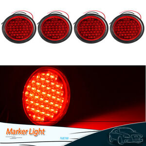4pcs 4 Red 40led Side Marker Clearance Lights Truck Trailer Tail Stop Turn Lamp